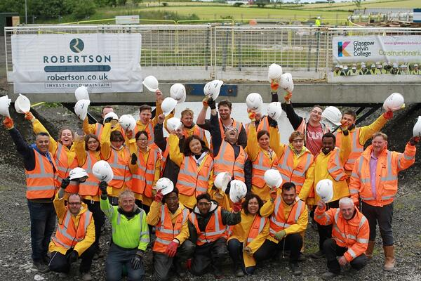 Constructionarium participants from Glasgow Kelvin College on site with Robertson Construction