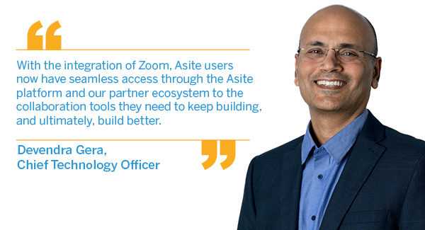Asite announces new Zoom integration to support remote working during COVID-19 lockdowns